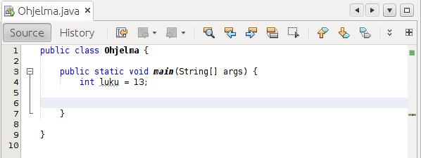 Kuva NetBeans-editorista, missä koodi kääntyy.