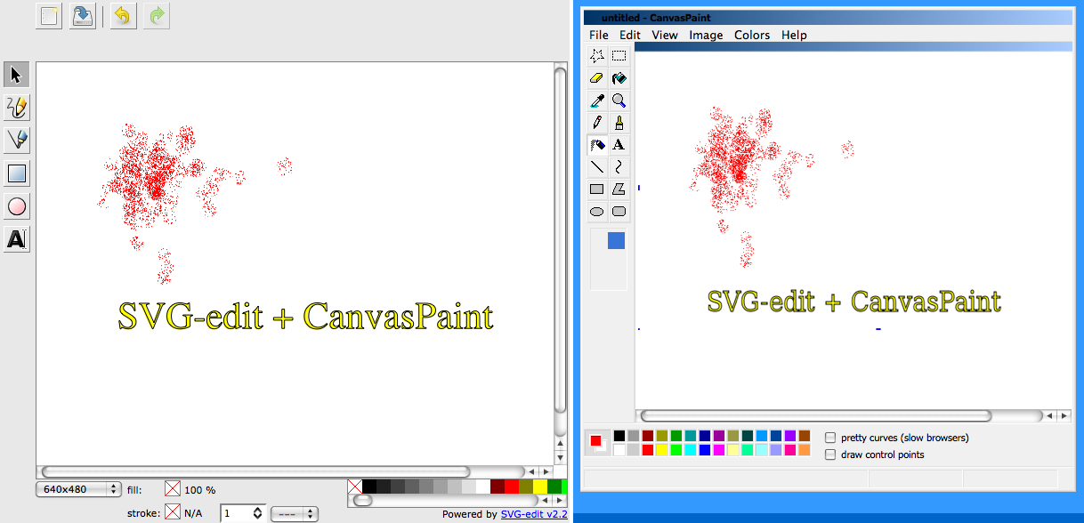 SVG Open 2009: SVG vs  Canvas on Trivial Drawing Application