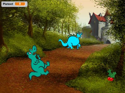 Kuva yksinkertaisesta keräilypelistä, joka on tehty Scratchilla.